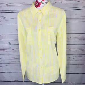 Vintage Feel Notations XL yellow&white blouse